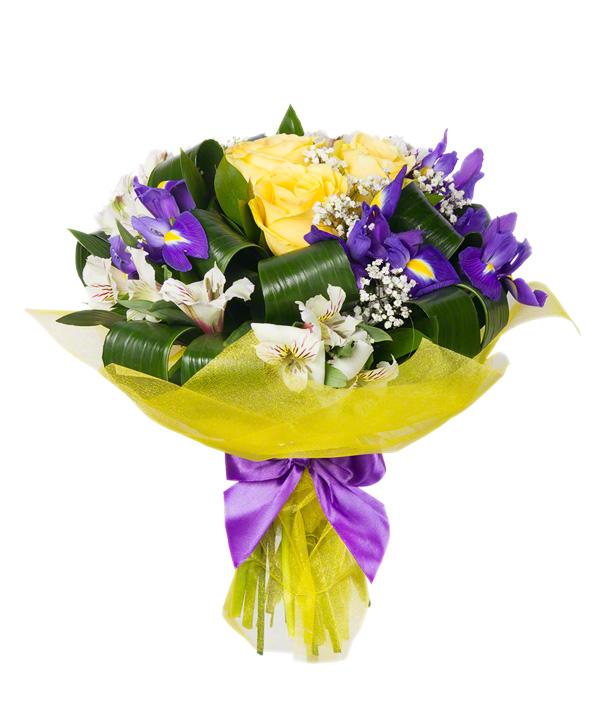 Trio, Alstroemeria, Gypsophila, Iris, Birthday