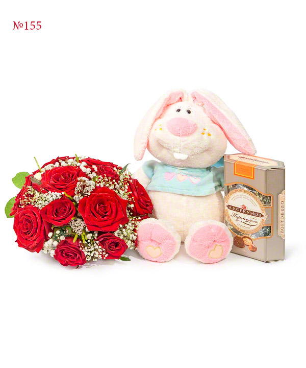 Tomorrow's date, Gypsophila, Candies, Big Stuffed Toy, Birthday